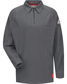 Bulwark Men's Grey iQ Series Flame Resistant Long Sleeve Polo - Big & Tall