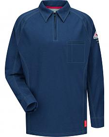 Bulwark Men's Dark Blue iQ Series Flame Resistant Long Sleeve Polo - Big & Tall