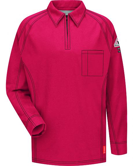 Bulwark Men's Red iQ Series Flame Resistant Long Sleeve Polo - Big & Tall