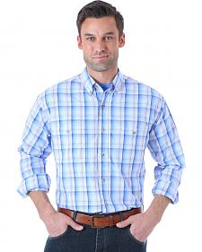 Wrangler Men's Rugged Wear Blue Plaid Long Sleeve Shirt