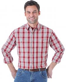 Wrangler Men's Rugged Wear Red Plaid Long Sleeve Shirt