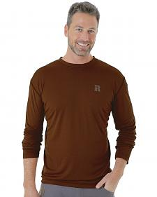 Wrangler Men's Brown Riggs Crew Performance Long Sleeve T-Shirt - Big and Tall