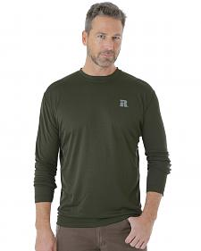 Wrangler Men's Green Riggs Crew Performance Long Sleeve T-Shirt - Big and Tall