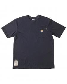 Carhartt Short Sleeve Navy Blue Pocket Fire Resistant Work T-Shirt