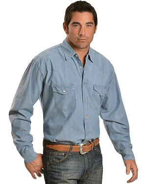Exclusive Gibson Trading Co. Denim Chambray Long Sleeve Western Shirt
