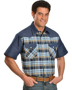 Wrangler Plaid Short Sleeve Western Work Shirt