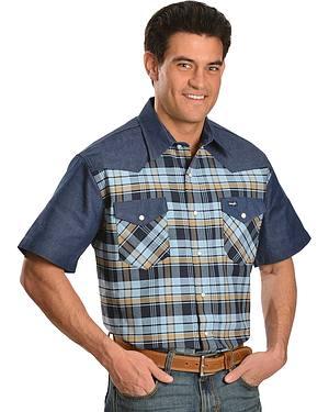 Wrangler Plaid Short Sleeve Western Work Shirt