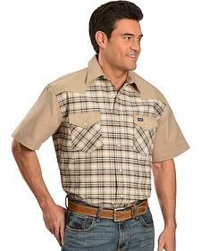 Wrangler Tan Yoke Plaid Western Shirt