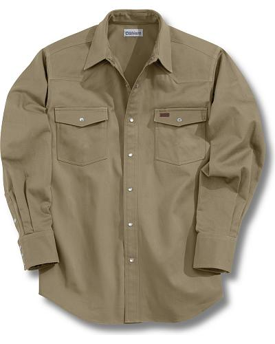 Carhartt Solid Cotton Twill Long Sleeve Work Shirt Western & Country S209 KHI