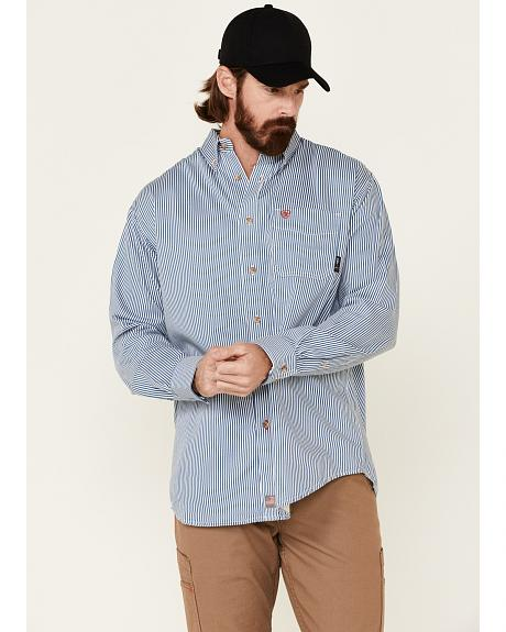 Ariat Flame Resistant Blue & White Striped Work Shirt