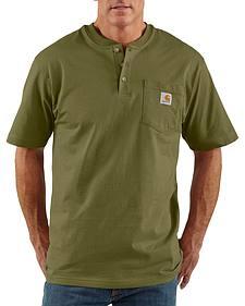 Carhartt Short Sleeve Green Henley Work Shirt