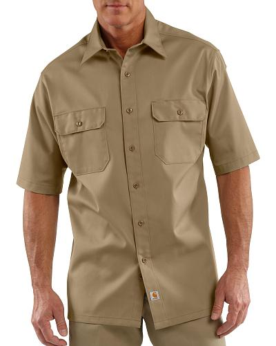 Carhartt Twill Work Short Sleeve Work Shirt - Big  Tall $31.99 AT vintagedancer.com