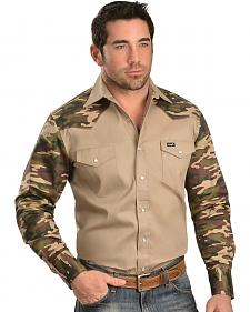 Wrangler Khaki Camo Colorblock Long Sleeve Shirt