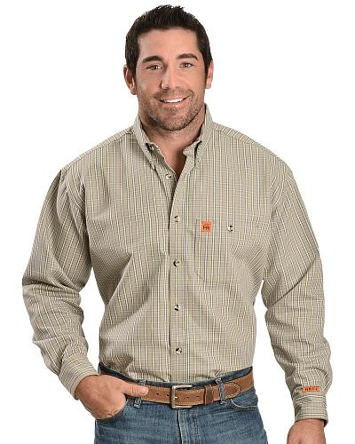 Wrangler Flame Resistant RIGGS Work Shirt Western & Country FR3W5OP