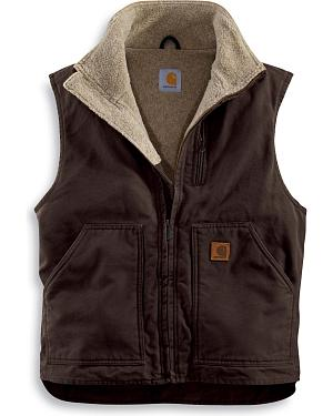Carhartt Sherpa Lined Sandstone Duck Work Vest - Big & Tall