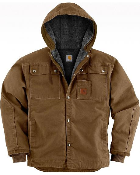 Carhartt Sandstone Hooded Sherpa-Lined Multi Pocket Jacket