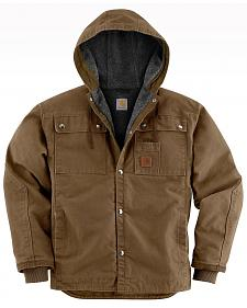 Carhartt Sandstone Hooded Sherpa-Lined Multi Pocket Jacket - Big & Tall