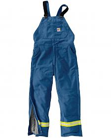 Carhartt Flame Resistant Reflective Quilt Lined Duck Bib Overalls