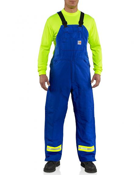 Carhartt Flame Resistant Reflective Quilt Lined Duck Bib Overalls - Big & Tall