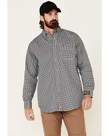 Ariat Men's Flame-Resistant Navy Check Long Sleeve Work Shirt