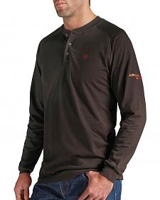 Ariat Men's Flame-Resistant Coffee Bean Henley Work Shirt