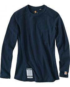 Carhartt Women's Flame Resistant Force Navy Long Sleeve Top