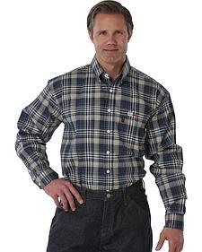 Cinch Men's Flame-Resistant Khaki Plaid Work Shirt