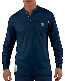 Carhartt Flame Resistant Long Sleeve Navy Henley Work Shirt - Big & Tall