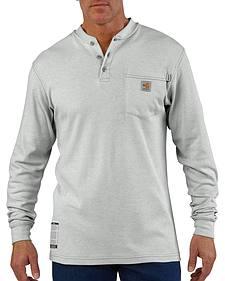 Carhartt Flame Resistant Long Sleeve Grey Henley Work Shirt - Big & Tall