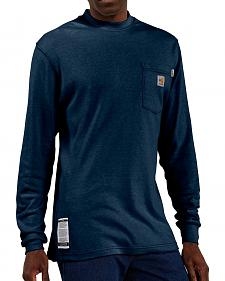 Carhartt Flame Resistant Long Sleeve Navy Work Shirt - Big & Tall