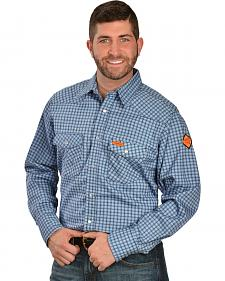 Wrangler Western FR Blue Plaid Work Shirt