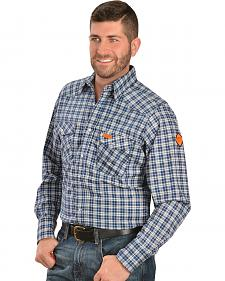 Wrangler Men's Flame-Resistant Navy Plaid Long Sleeve Work Shirt