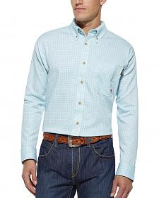Ariat Flame Resistant Tioga Aqua Plaid Work Shirt