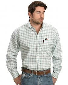Cinch Green and White Plaid Flame Resistant Work Shirt