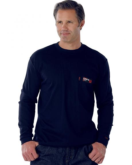 Cinch Navy Flame Resistant Long Sleeve Work Shirt