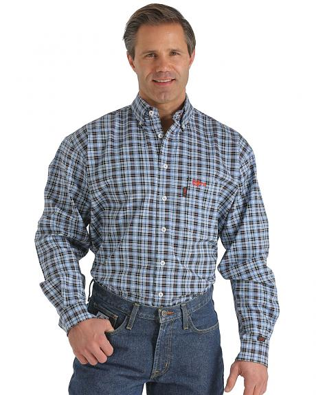 Cinch wrx flame resistant navy plaid shirt sheplers for Cinch flame resistant shirts