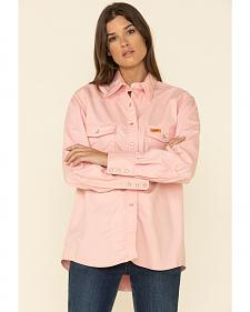Wrangler Women's Lightweight Flame Resistant Pink Long Sleeve Shirt