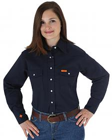 Wrangler Women's Lightweight Flame Resistant Long Sleeve Shirt