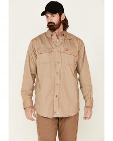Ariat Flame Resistant Khaki Solid Twill Work Shirt