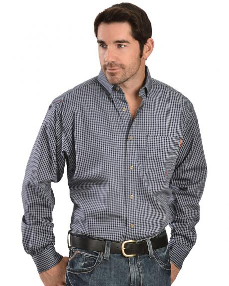 Ariat men 39 s flame resistant blue plaid work shirt big for Tall mens work shirts