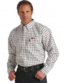 Cinch Black and White Plaid Flame Resistant Twill Long Sleeve Shirt