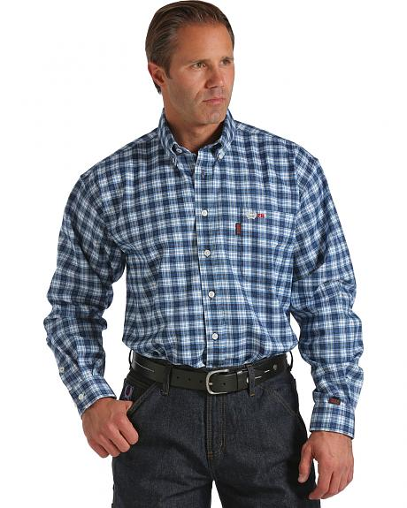 Cinch Blue and White Plaid Flame Resistant Twill Long Sleeve Shirt