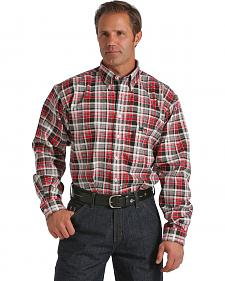 Cinch Black, Red, and White Plaid Flame Resistant Twill Long Sleeve Shirt