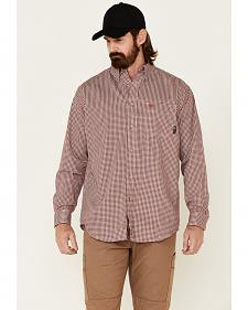 Ariat Flame Resistant Wine Plaid Work Shirt
