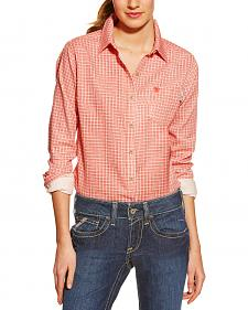 Ariat Women's Fire-Resistant Red Tioga Plaid Long Sleeve Work Shirt