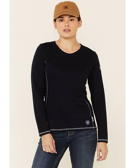 Ariat Women's Flame Resistant Navy Long Sleeve Polartec Top