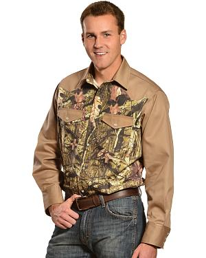 Gibson Trading Co. Camo and Khaki Long Sleeve Work Shirt