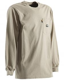 Berne Khaki Long Sleeve Flame Resistant Crew Neck T-Shirt - 3XL and 4XL