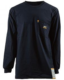 Berne Khaki Long Sleeve Flame Resistant Crew Neck T-Shirt - 3XT and 4XT