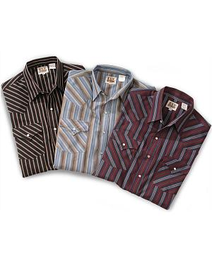Ely Assorted Plaid or Stripe Long Sleeve Western Shirt